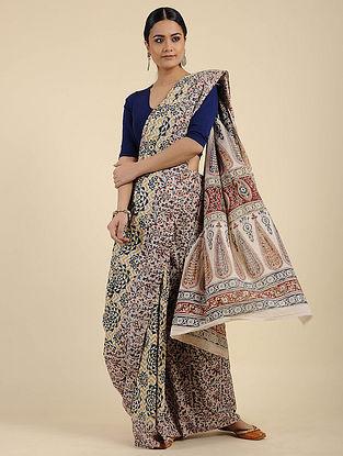 Ivory-Blue Kalamkari Block Printed Cotton Saree