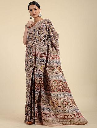 Beige-Red Kalamkari Block Printed Cotton Saree