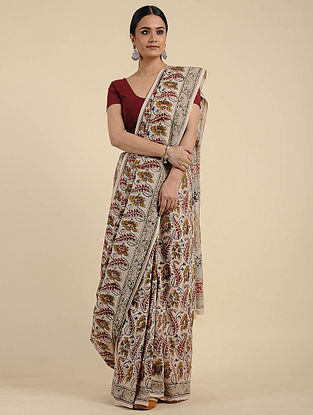Ivory-Red Kalamkari Block Printed Cotton Saree