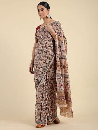 Beige Kalamkari Block Printed Cotton Saree