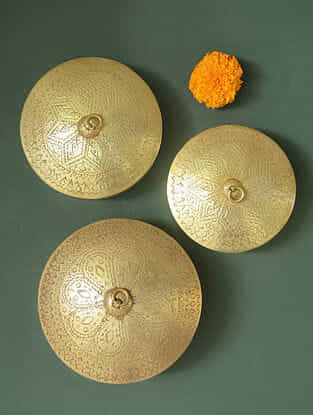 Handcrafted Brass Dabro Set (Set of 3)