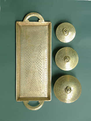 Handcrafted Brass Tray with Dabro (Set of 4)