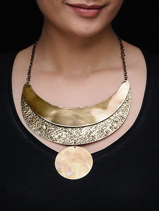 Hammered Gold Tone Brass Necklace