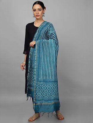 Blue Block Printed Chanderi Dupatta