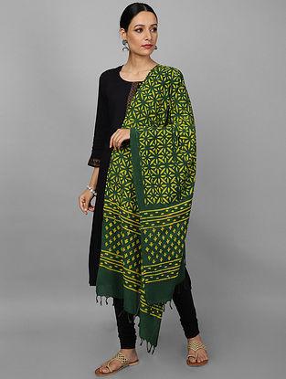 Green-Red Ikat Cotton Dupatta