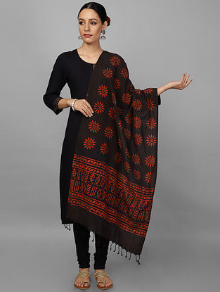 Black-Red Block Printed Cotton Stole