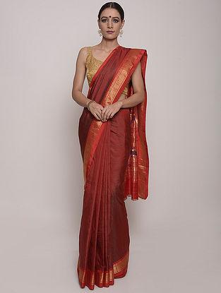 Red Handwoven Paithani Silk Saree