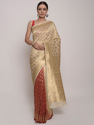 Golden-Red Handwoven Benarasi Silk Saree