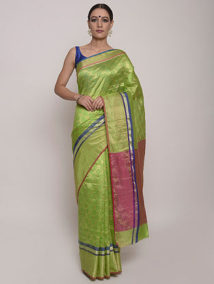 Green-Pink Handwoven Chanderi Silk Saree