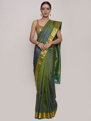 Green-Blue Handwoven Kanjeevaram Silk Saree