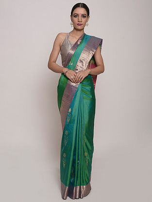 Aqua Green Handwoven Jamdani Silk Saree