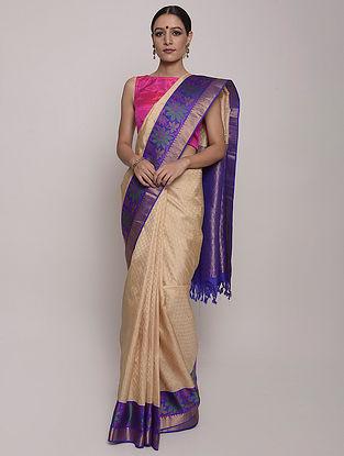 Cream-Blue Handwoven Kanjeevaram Silk Saree