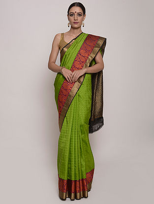 Green-Coral Handwoven Kanjivaram Silk Saree