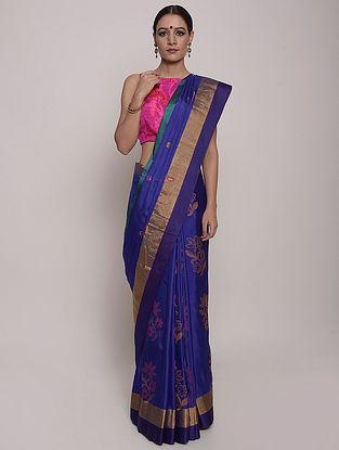 Blue-Pink Handwoven Uppada Silk Saree