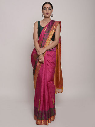 Pink-Orange Handwoven Kanjeevaram Silk Saree