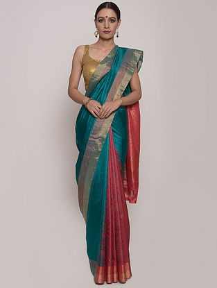Blue-Red Handwoven Uppada Silk Saree