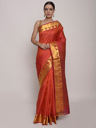 Orange Handwoven Kanjivaram Silk Saree