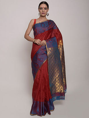 Red-Blue Handwoven Uppada Silk Saree