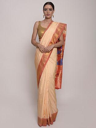 Peach Handwoven Paithani Silk Saree