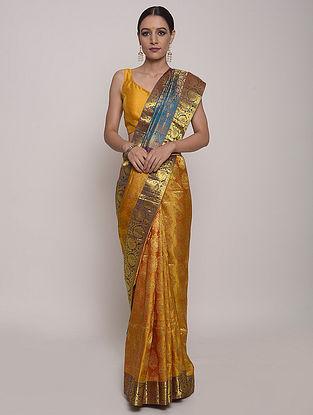 Mustard-Blue Handwoven Kanjivaram Silk Saree
