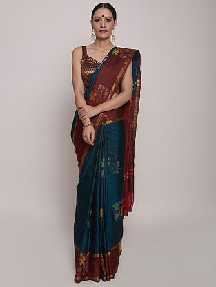 Blue-Rust Handwoven Uppada Silk Saree