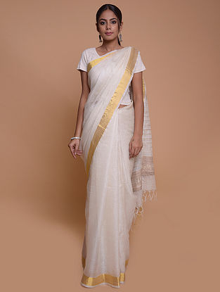 Ivory Handwoven Silk Saree