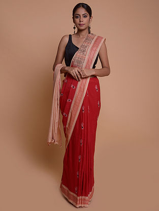 Red Handwoven Baluchari Cotton Saree