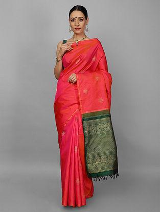 Pink-Green Kanjivaram Ahimsa Silk Saree
