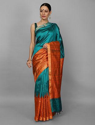 Blue-Orange Kanjivaram Ahimsa Silk Saree