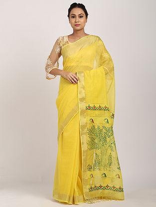 Yellow Hand Painted Silk Saree