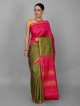 Pink-Green Kanjivaram Silk Saree
