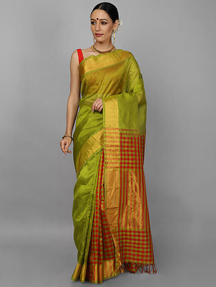 Green-Red Cotton Silk Saree with Zari