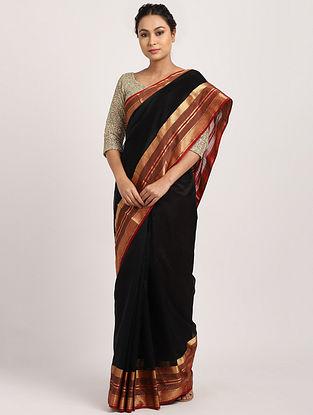 Black Handwoven Cotton Silk Saree with Zari
