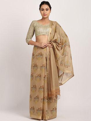 Beige Printed Handwoven Cotton Silk Saree
