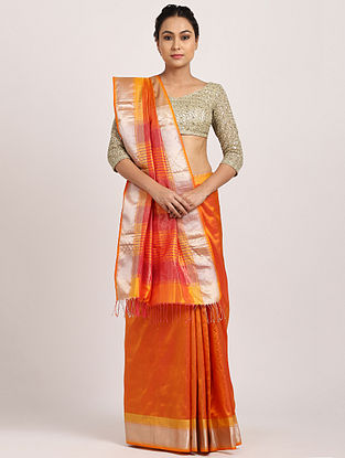 Orange Handwoven Cotton Silk Saree with Zari