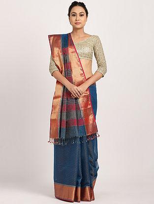 Blue Handwoven Cotton Silk Saree with Zari