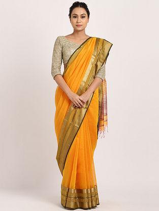 Yellow Handwoven Cotton Silk Saree with Zari