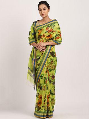 Yellow-Green Printed Handwoven Cotton Silk Saree