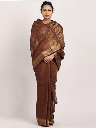Brown Handwoven Cotton Silk Saree