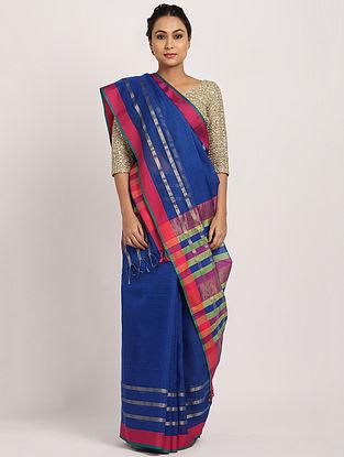 Blue-Pink Handwoven Cotton Silk Saree with Zari