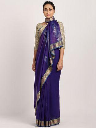 Purple Handwoven Cotton Silk Saree with Zari