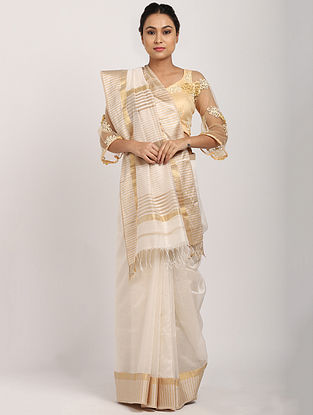 Off White Handwoven Cotton Silk Saree