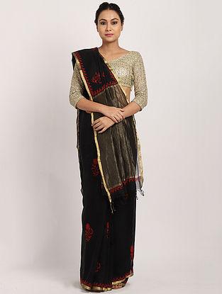 Black Handwoven Cotton Silk Saree