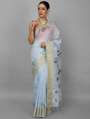 Blue-Red Hand Painted Chanderi Saree