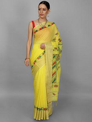 Yellow-Green Hand Painted Chanderi Saree