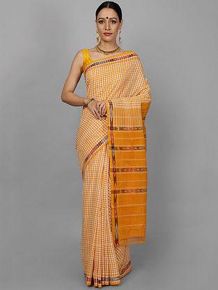 Yellow Handwoven Ikat Cotton Saree