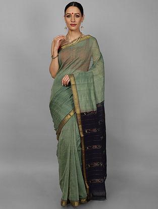 Green-Black Handwoven Cotton Saree