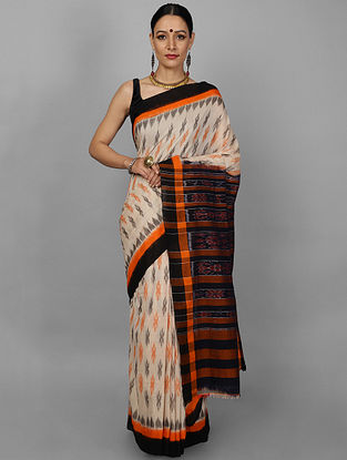 Off White-Red Ikat Cotton Saree
