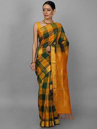 Yellow-Green Cotton Silk Saree with Zari