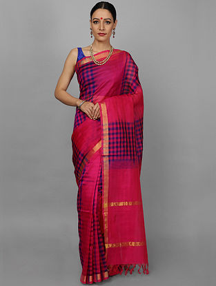 Pink-Yellow Cotton Silk Saree
